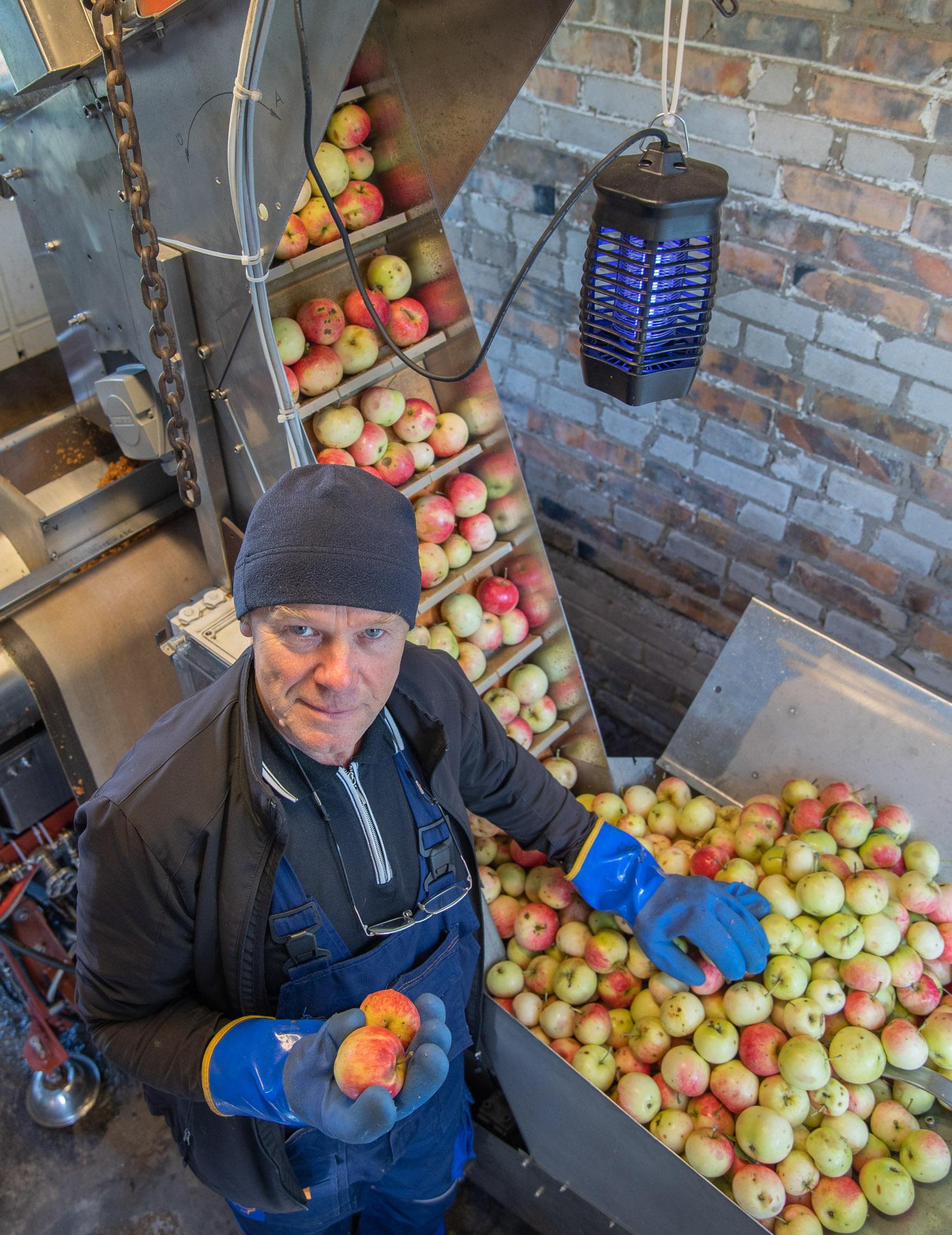 Viiendat aastat Võrumõisa teel õunamahla pressimist pakkuv Piiri talu peremees Ilmar Saar  annab teada, et väärt janukustutajat hakkasid nad taas valmistama juba augusti teisest pühapäevast. Foto: AIGAR NAGEL