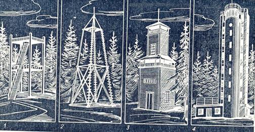 """Neli viimast Suure Munamäe torni. Joonis E. Naruski artikli """"Suure Munamäe vaatetornide ajalugu"""" juurest (Eesti Loodus, 1968, nr 4)"""